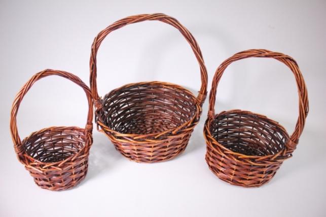 Набор плетеных корзин из 3шт (ива) Круг коричневый d=29, h=13/37см (КС-341)