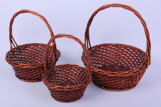 Набор плетеных корзин из 3шт-(ива)  Круг коричневый КС-340