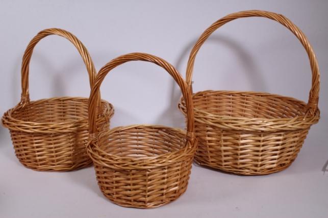 Набор плетеных корзин из 3шт - (ива) Круг медовый d=39/39, h=14/40см (КС - 316)