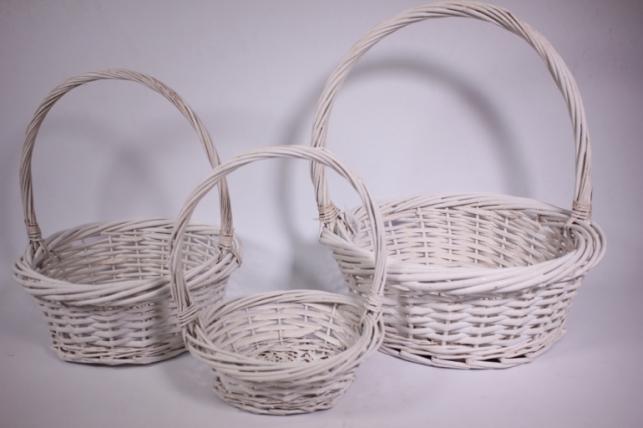 Набор плетеных корзин из 3шт - (ива) Круглая белая d=35/35, h=12/38см (КС - 311)