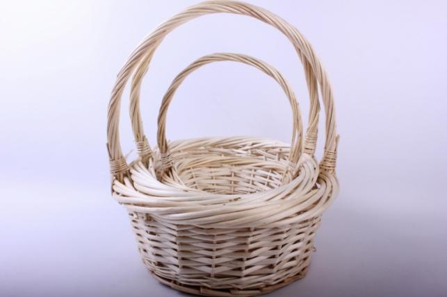 Набор плетеных корзин из 3шт - (ива) Круглая натуральная d=35/35, h=12/38см (КС - 311)