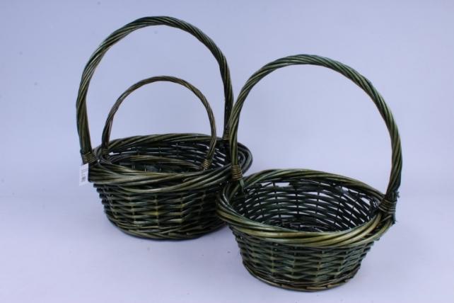 Набор плетеных корзин из 3шт-(ива) Круглая зеленая  (КС-311)