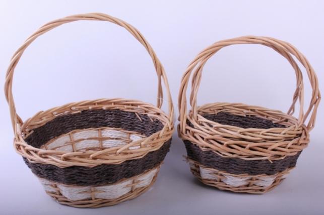 Набор плетеных корзин из 3шт - (ива) натуральный d=28/28, h=11/28см (КС - 036)