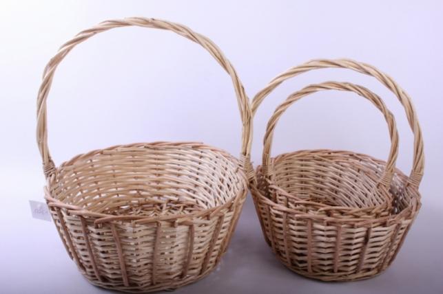 Набор плетеных корзин из 3шт - (ива) натуральный d=37/29, h=13/34см (КС - 035)