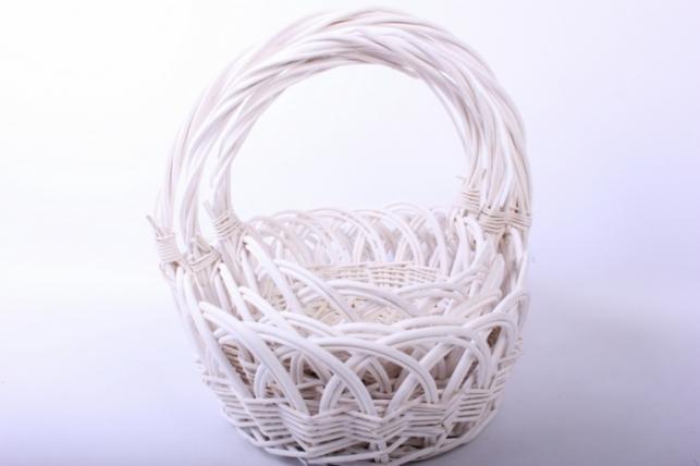 Набор плетеных корзин из 3шт - (ива) Овал белый кружево d=34/31, h=15/13/33см (КС - 051)