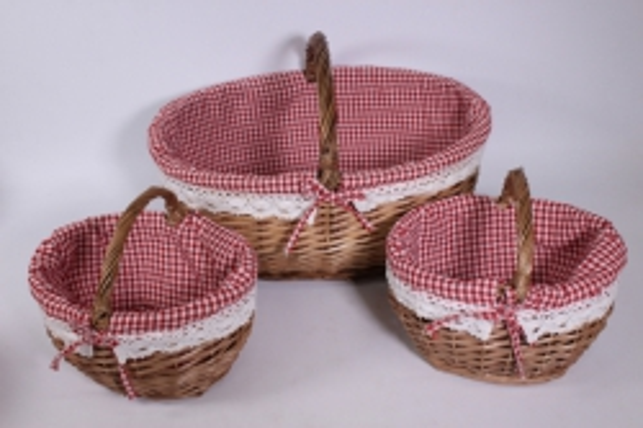 Набор плетеных корзин из 3шт - (ива) овал коричневый с вкладышем d=48/35, h=21*32см (КС - 041)