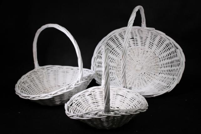 Набор плетеных корзин из 3шт-(ива) Тарелка белая  (КС-351)