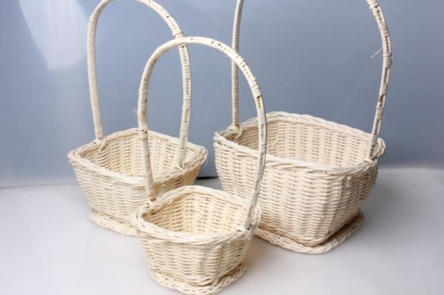 Набор плетеных корзин из 3шт. Квадрат бел/салат цвета в ассортименте 9342