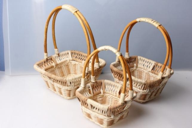 Набор плетеных корзин из 3шт. Квадрат/Круг/Прямоуг цвета в ассортименте 9353