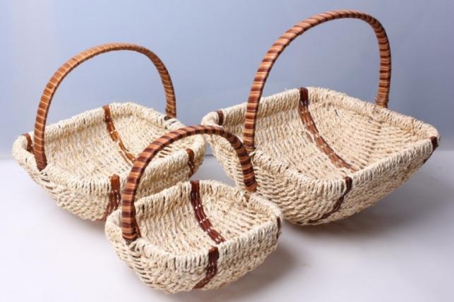 Набор плетеных корзин из 3шт. Квадрат веревка. Разноразмерные.
