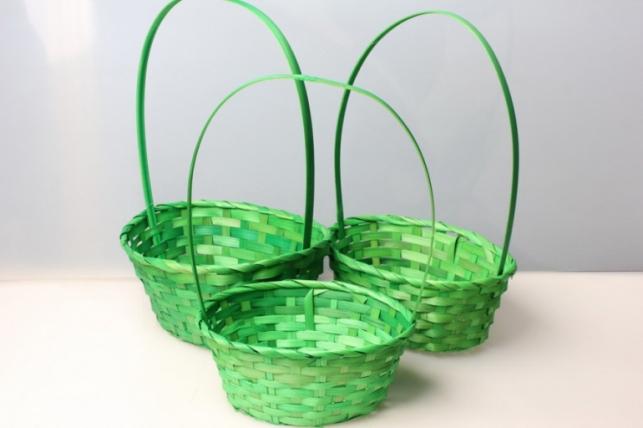 Набор плетеных корзин из 3шт. Разноразмерные. Зеленые (бамбук) овал 5771.