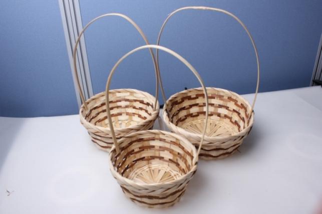 Набор плетеных корзин из 3шт. с коричневой полоской (бамбук) 3517