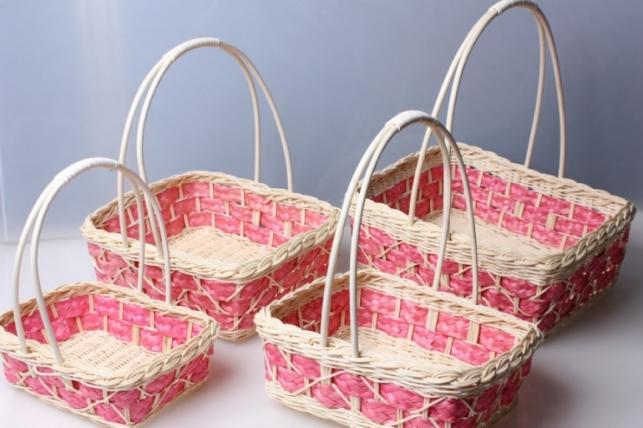 Набор плетеных корзин из 4шт. Квадрат с полоской 9353