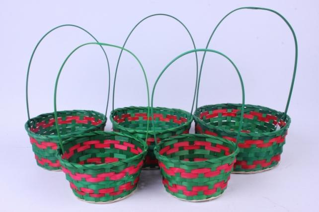 Набор плетеных корзин из 5 шт -  (бамбук)  Зеленый HH39   1888