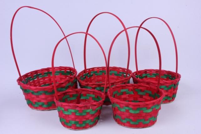 Набор плетеных корзин из 5шт -  (бамбук)  Красные HH39   1895