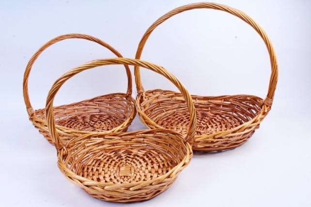 Набор плетеных корзин из 3-х штук - Овал плоский медовый  КС-396