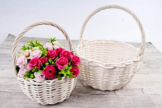 Набор плетеных корзин из 2шт (ива) - Круг белый  КС-101