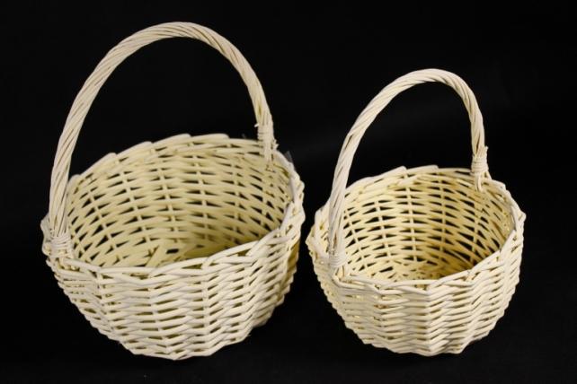Набор плетеных корзин из 2шт (ива) - Круг желтый КС-101