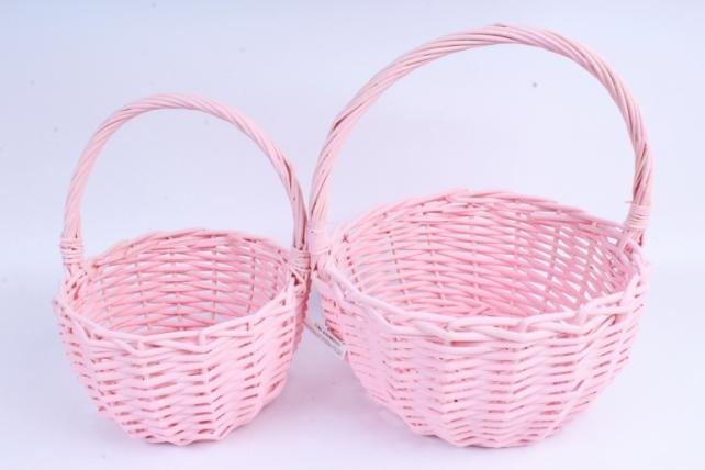 Набор плетеных корзин из 2шт (ива) - Круг розовый  КС-101
