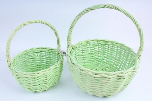 Набор плетеных корзин из 2шт (ива) - Круг салатовый  КС-101