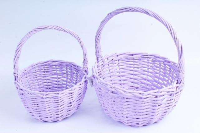 Набор плетеных корзин из 2шт (ива) - Круг сиреневый D=24, H13*HH26см КС-101