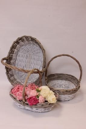 Набор плетеных корзин из 3шт (ива) - Овал 45х35х15/37  см, 3 шт., серый / белый 5407М