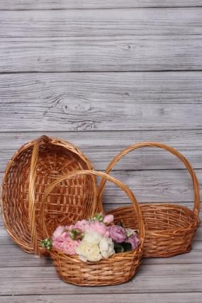 Набор плетеных корзин из 3шт (ива) - 38x30x13/40 см  натуральный 5360М