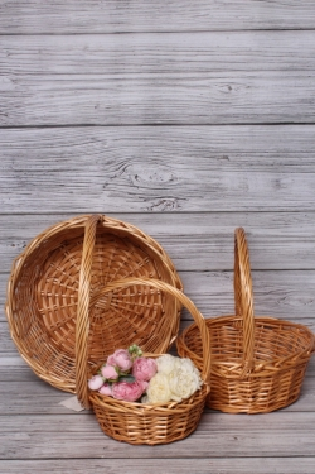 Набор плетеных корзин из 3шт (ива), D39х14/40 см  светло-коричневый 5384М