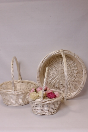 Набор плетеных корзин из 3шт (ива), D46х19/43 см  выбеленный 7407М