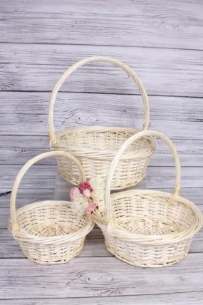 Набор плетеных корзин из 3шт (ива) -  D43x15/43 см, выбеленный 7636М