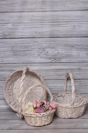 Набор плетеных корзин из 3шт (ива), D35x14/36 см  алебастровый 7629М