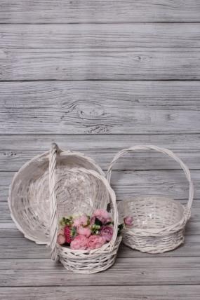 Набор плетеных корзин из 3шт (ива), D36x13/41 см  кремовый 5438М