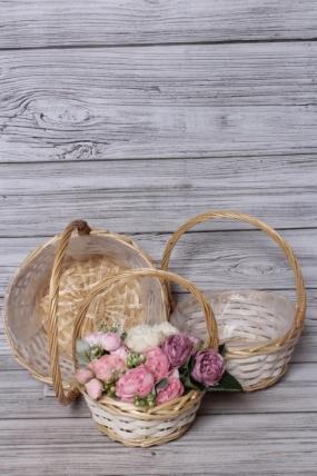 Набор плетеных корзин из 3шт (ива), D29x13,5/34,5 см  натуральный / белый  5476М