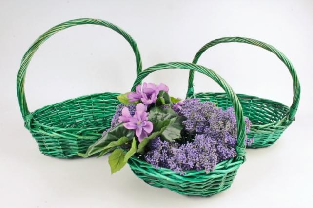 Набор плетеных корзин из 3шт (ива) -   3 шт., зеленый 9357 М
