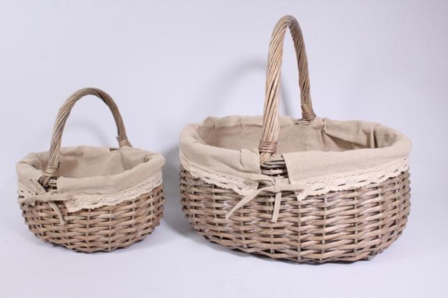 Набор плетеных корзин из шт - (ива) Овал с вкладышем бежевый d=40/30, h=20/40см (КС - 336)