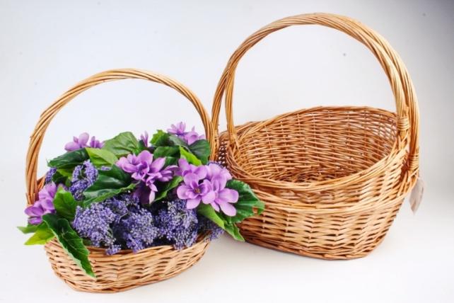 Набор плетеных корзин из 3шт (ива) -   3 шт., светло-медовый 7551 М