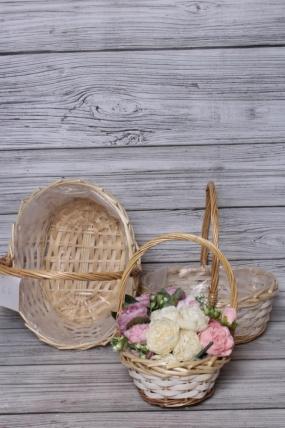 Набор плетеных корзин из 3шт (ива), 35,5x26x13/36,5 см  натуральный 5483М