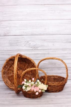 Набор плетеных корзин из 3шт (ива)-Круг коричневый D=42*35, H=46/15 КС-802