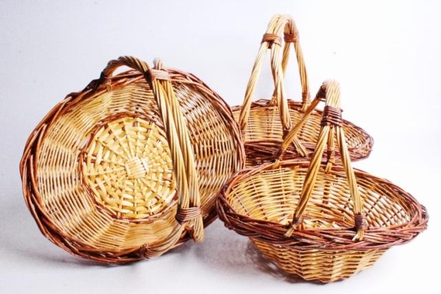 Набор плетеных корзин из 3шт-(ива) - Овал коричневый КС-364