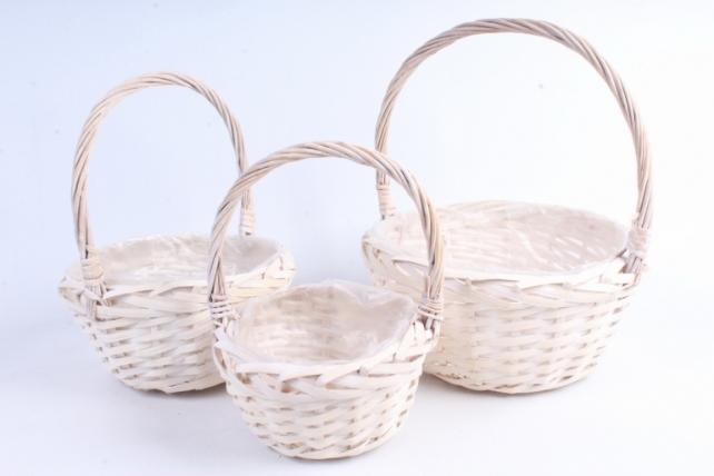 Набор плетеных корзин из 3шт-(ива) Круг белёный d=28, h=14/38см  КС-392