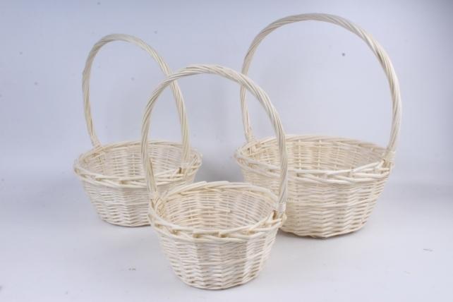 Набор плетеных корзин из 3шт-(ива) Круг белый КС-72
