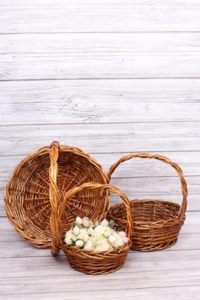 Набор плетеных корзин из 3шт(ива)- Круг коричневый D=42*35, H=46/15 КС-821