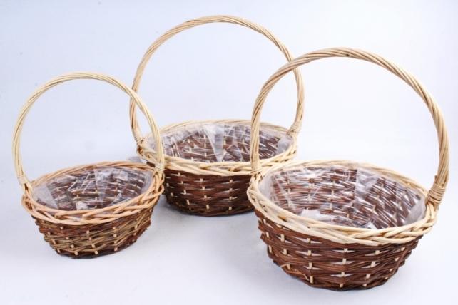 Набор плетеных корзин из 3шт-(ива) Круг коричневый с натуральным ободком   (КС-065)