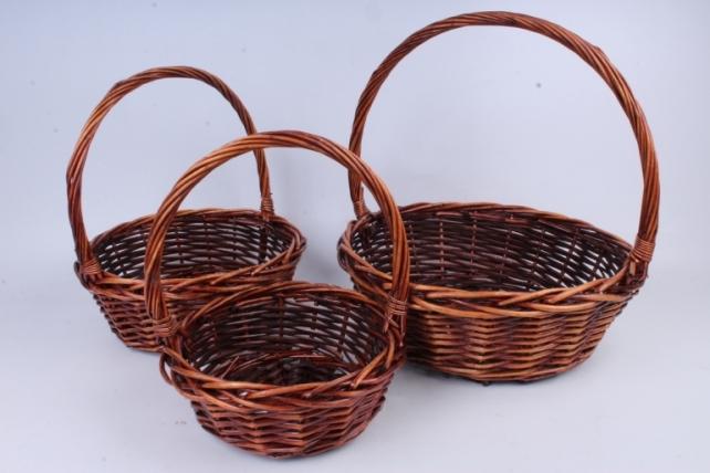 Набор плетеных корзин из 3шт-(ива) Круг коричневый (КС-316)