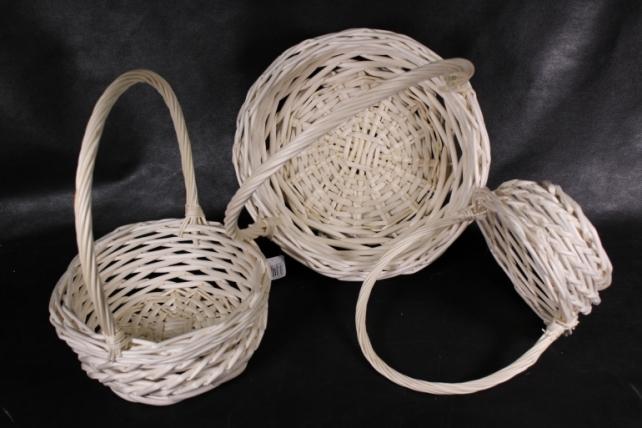 Набор плетеных корзин из 3шт-(ива) Круг натуральный   КС-032