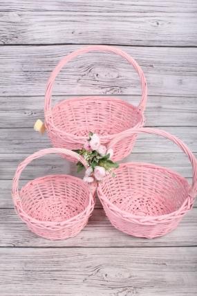 Набор плетеных корзин из 3шт-(ива) Круг розовый D=34 H=11/35см КС-127