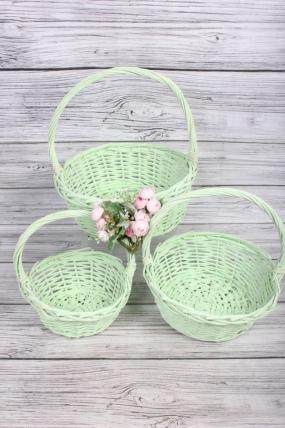 Набор плетеных корзин из 3шт-(ива) Круг салатовый D=34 H=11/35см КС-128