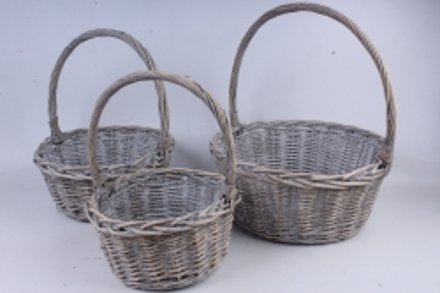 Набор плетеных корзин из 3шт-(ива) Круг серый КС-021