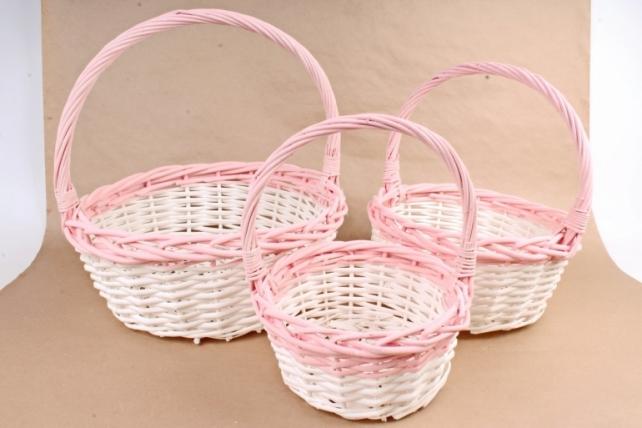 Набор плетеных корзин из 3шт-(ива) Круглая белая с розовым кантом   КС-91