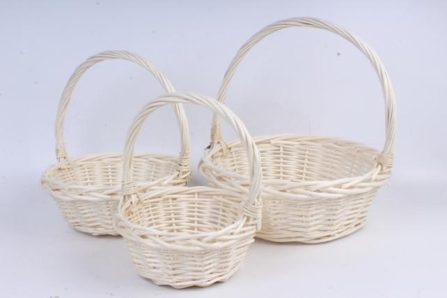 Набор плетеных корзин из 3шт-(ива) Круглая белая КС-90